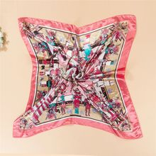 Comfortable Womens Square Silk-like Satin Large Scarf Wrap Butterfly Floral Shawl 90*90cm High quality
