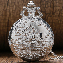 Retro Silver Train Front Locomotive Engine Necklace Quartz Pocket Watch Chain Men Women Gift Relogio De Bolso