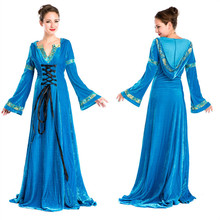 Blue European Court Dress Halloween Cosplay Game Hostess Clothing Evening Dress Hallowmas Cos Costume Make Up Party Dress B-3477(China)