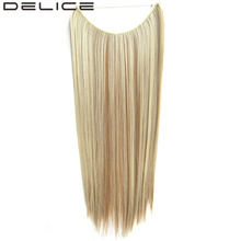 "[DELICE] 22"" Long Straight High Temperature Fiber Synthetic Hair Fish Line Invisible Hair Extensions, 50g/piece"