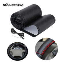 MALUOKASA Car Thread Steering Wheel Cover With Needles Artificial PU Leather Anti-slip Soft Padded Steering Wheel Protection