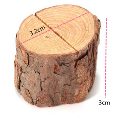 3.2*3cm Lovely Tree Stump Design Wooden Clip Card Holder Photo Notes Folder Message Mini Clip Holder Miniatures(China)