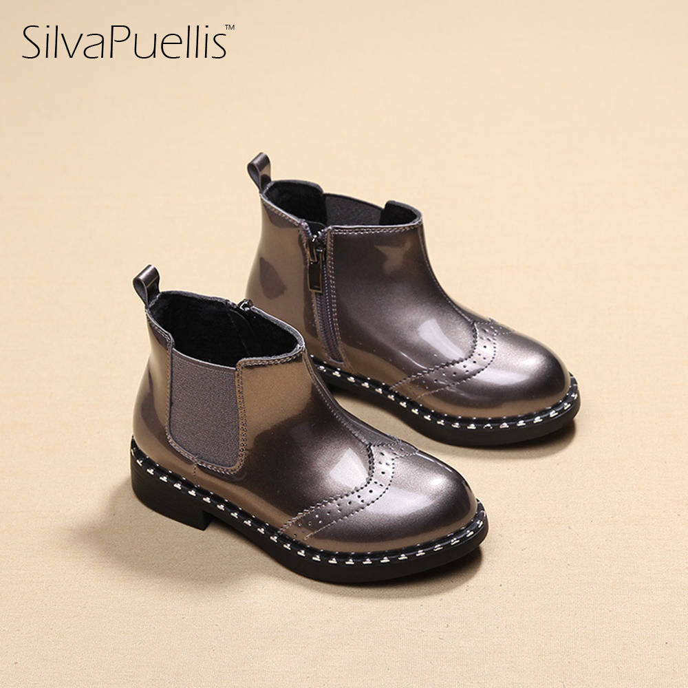 SilvaPuellis New Children Fashion Patent Leather Snow Boots Girls Zip Slip-On Round Snow Boots Girls Flat Rubber Ankle Boots<br>