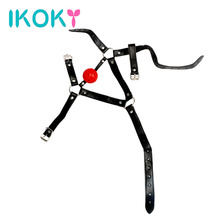 Buy IKOKY Open mouth gag ball Oral fixation stuffed Flirting band Sex erotic toys couples Adults games Head Harness Bondage