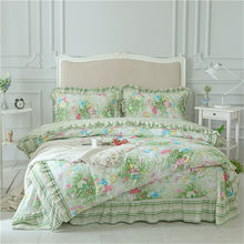 2018 fashion stripe Duvet Cover Rural style Flower Light Green Bedding Sets 4Pcs fold Ruffle Queen King Cotton quality textiles(China)