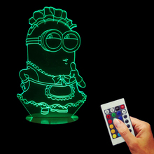 Free Shipping 1Piece Cartoon Minions Dressed Apron Acrylic Table Lamp For Party Baby Toy Christmas Gift Bedroom Night Light