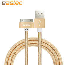 Bastec Original 30 pin Metal plug Nylon Braided Sync Data USB Cable for iphone 4 4s iPad 2 3 with Retail Box