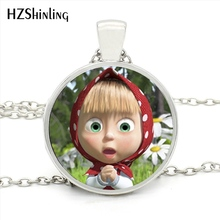 MINI-0063 New Arrival Cartoons Masha Necklace Glass Dome Anime Jewelry Masha And the Bear Necklace for Children Gift