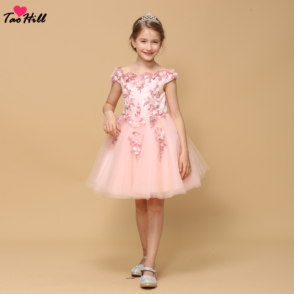 TaoHill Pink Flower Girl Dresses A-line Boat Neck Tulle Layers Beads Girls Pageant Gowns Baby Party Dress Vestido Daminha