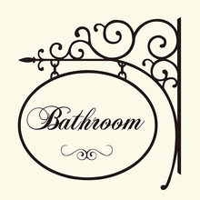 Bathroom Hanger Sign Wall Sticker Washroom Toilet Door Hanger Wall Window Decal Home Lettering Words Quote Decor Vinyl
