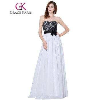 Grace karin vestido de noche largo 2017 negro y blanco vestido de encaje sin tirantes de la gasa del partido formal vestidos de noche vestidos de baile
