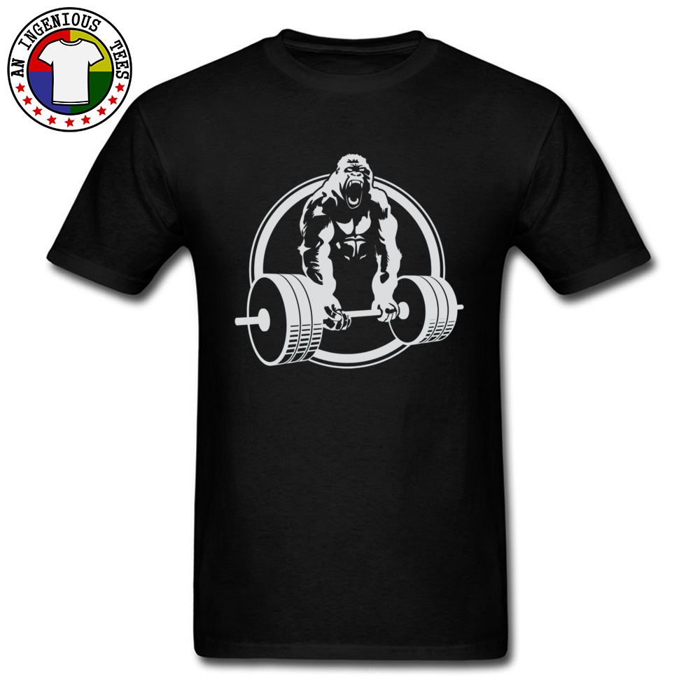 Casual Family Short Sleeve Printed T Shirts 100% Cotton O-Neck Men Tops & Tees Street Tshirts VALENTINE DAY Drop Shipping Gorilla Lifting Fitness Gym Tee 24451 black