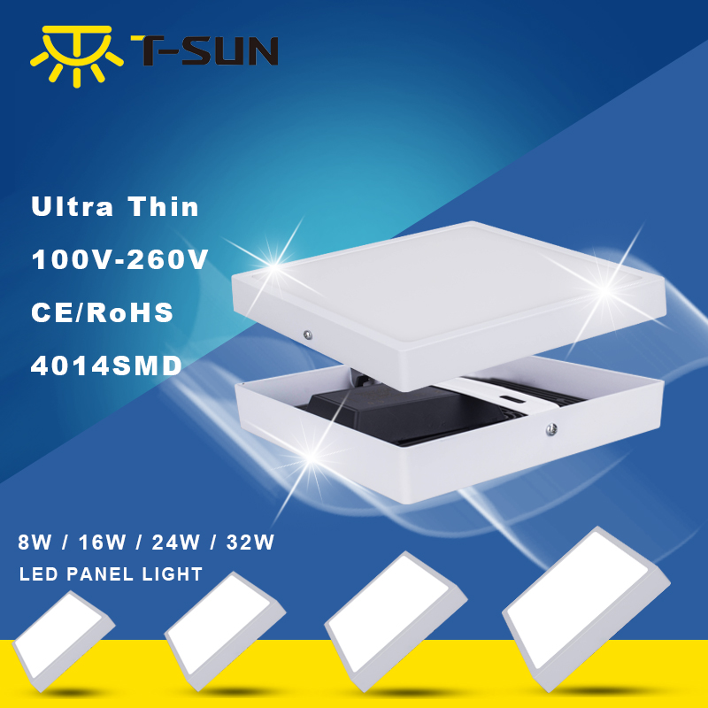 T-SUNRISE 8W/16W/24W/32W Square/Round Surface Mounted AC85-265V lamp White bright Square/Round LED Panel Light  (China)