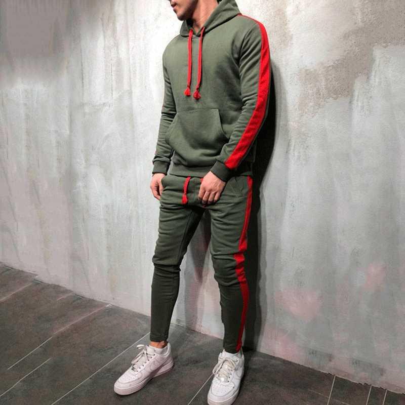 2 шт. комплекты Для мужчин спортивный костюм 2018 новый бренд осень-зима  толстовка с 26bec9b9a32