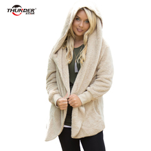 Winter Teddy Coat Women 2017 Casual Hooded Sweatshirts Coat Soft Plush Solid Pocket Outwear Hoodies Jacket(China)