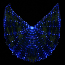 2017 Stafe Performance Prop Women Dancewear Girls DJ LED Wings Light Up Wings Belly Dance Wing Costume with Sticks