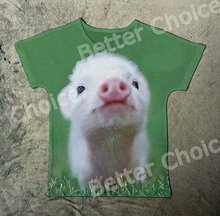 Track Ship+Summer Fresh Cool T-shirt Top Tee Pink Pure Eyes Pig Piglet Piggy Smile Watching at Green Grass 0283