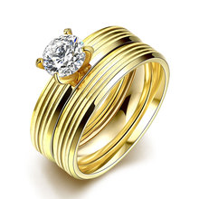 ORP 2016 New Fashion titanium steel Paletd 24k Gold ring POP Zircon Prong Setting Bridal Sets Rings