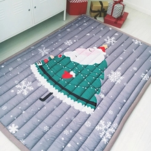 Christmas Santa tatami mat 140*200cm ,quilted 100% cotton environmental ground mat for living room ,snowman,baby crawls mat(China)