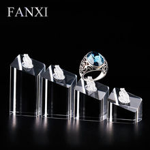 FANXI free shipping high transparency imported acrylic custom logo ring display stand(China)