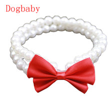 Dogbaby Red Bowknot White Plastic Pearls Pet Necklace Mascotas Collar Dog wedding Jewelry Pet shop dog accessories 2017 New