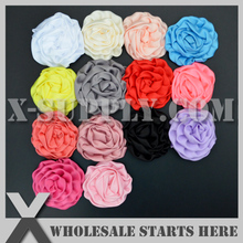"3"" Rolled Flowers Satin Rolled Rosette Fabric Flowers Flat Back For Hair Accessories"