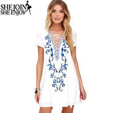 ShejoinSheenjoy Summer Women Dress Sexy Deep V Neck Lace Up Print Chiffon Dress Sundress Short Sleeve Casual Mini Shift Dress