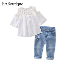 EABoutique 2017 summer kids clothes sweet Fashion girls clothes lace hollow design tee with jeans outfit for 2-7 years old