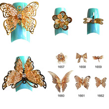 1PCS NEW Arrival Charm Bow Ties 3d Alloy Nail Art Decorations Golden Hollow out DIY Butterfly Decor Studs Styling Tools TRND212