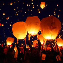 MEIDDING 10pcs Multicolor 14 Inch Paper Chinese Lanterns Fire Sky Flying Paper Candle Wish Lamp for Birthday Wish Party Supplies