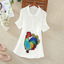ASTFSC Summer T Shirt Women Cotton Linen Floral T Shirt  Embroidered Cock Flower T-shirt Folk Kyliejenner Harajuku Ladies Shirt