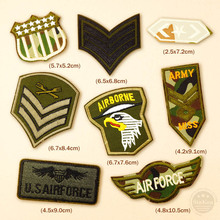 8pcs/lot U.S AIRFORCE AIRBORNE ARMY Iron On Patches Badge Embroidery Patch Applique Clothes Clothing Sewing Supplies Decorative