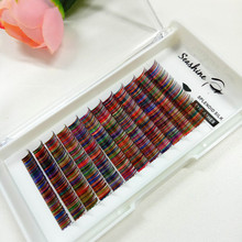New arrival mix color false eyelash individual eyelashes rainbow color eyelash extension for Cosplay party makeup