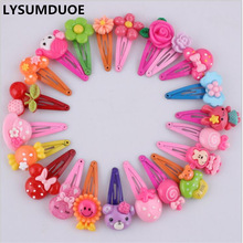 Fashion Barrette Baby Hair Clip 10pcs Cute Flower Solid Cartoon Handmade Resin Flower Children Hairpin Girl Hairgrip Accessories