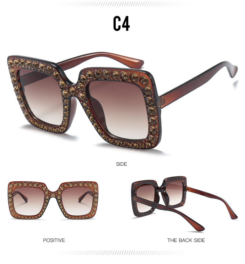 Luxury Diamond Square Sunglasses Women Brand Oversized Crystal Sun Glasses Ladies 2018 New Gradient  Mirror Shades