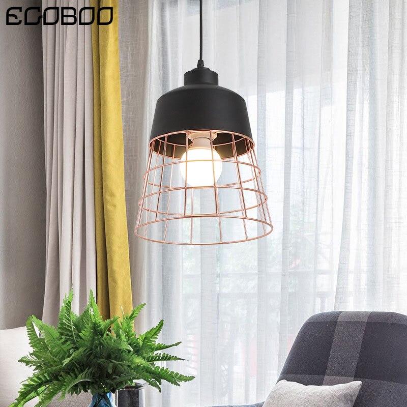 EGOBOO Black vintage pendant lights E27 Bulb Dining Room Kitchen Attic iron lamp shade LED single head lamp