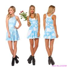 Blue Sky White Cloud Skating Dress Sports Tennis Dress Slim Snowflake Beach Dress Ladies Bodycon Pleated Mini Dress 3D Printed