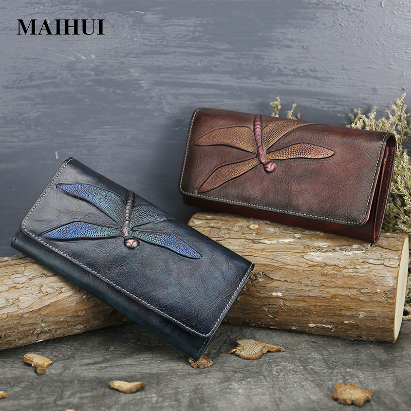 Maihui ladies cowhide long genuine leather standard wallet women with coin pocket card holder vintage purse note compartment<br>