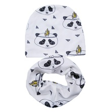 New Fashion Baby Hat Spring Autumn Children Hat Scarf Collars Animal Print Boys Girls Beanie Kids Cap Infant Hats Set Baby Caps