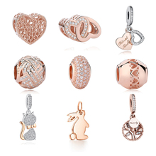 Buy Real 925 Sterling Silver Beads Rose Gold Rabbit Cat Family Tree Heart Charm Beads Fits Original Pandora Bracelets DIY Jewelry for $4.71 in AliExpress store