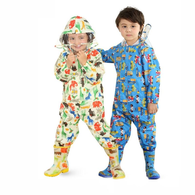 Unisex Baby Rain Jacket Kids Watertight Cloak Dinosaurs Hooded Raincoat For Children Girls Boys Outdoors Rainsuits<br>