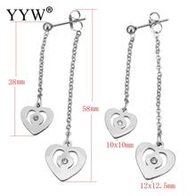 YYW Fashion Women Lover New Designs Stainless Steel Split Earring Long Chain Rhinestone Heart Charm Drop Fringe Dangle Earrings(China)