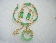 Prett Lovely Women's Wedding Noblest Green gem GP Bracelet Pendant Necklace Earring Set 5.23 silver jewelry boucle(China)