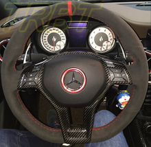 CLA45 AMG Steering wheel Carbon Fiber Sticker Dry Carbon Interior Accessaries Case For Mercedes Benz W117 CLA AMG 2014 2016 2016