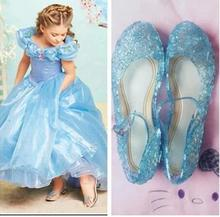 High Quality Glitter Elsa Shoes Girls Party Sandals Baby Girls Crystal Shoes 2017 Brand New Children Shoes