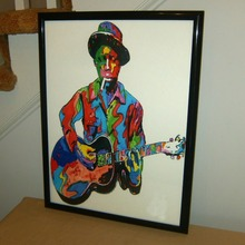 TOP Abstract oil painting- Robert Johnson, Guitar, Guitarist: Crossroads, Delta Blues -100% hand painted 24x36 inch-