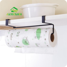 JiangChaoBo New Iron Kitchen Tissue Holder Hanging Bathroom Toilet Roll Paper Holder Towel Rack Kitchen Cabinet Door Hook Holder