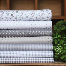 Free ship 7designs 20*30cm Gray small cotton fabric fat quarter bundle tilda sewing cloth home textile fabric patchwork quilting