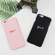 Fashion simple color style for iPhone 6 6s 6s Plus 7 7 Plus X mobile youth lovely cartoon love and words couple thin hard shell(China)