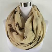 Newly Design Women's Fashion Accessories Dachshund Dog Print Long Voile Scarf Shawl Scarves Drop Shipping